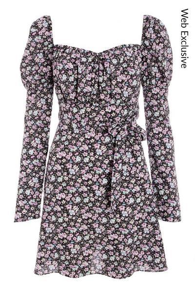 Black & Purple Floral Skater Dress